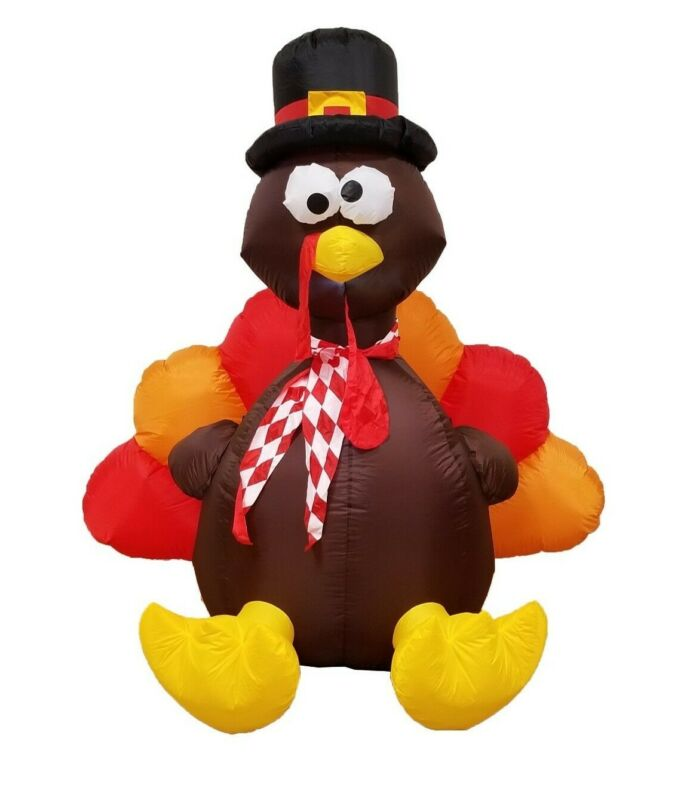 6 Foot Thanksgiving Inflatable Turkey Air Blown Outdoor Yard Decoration Blowup