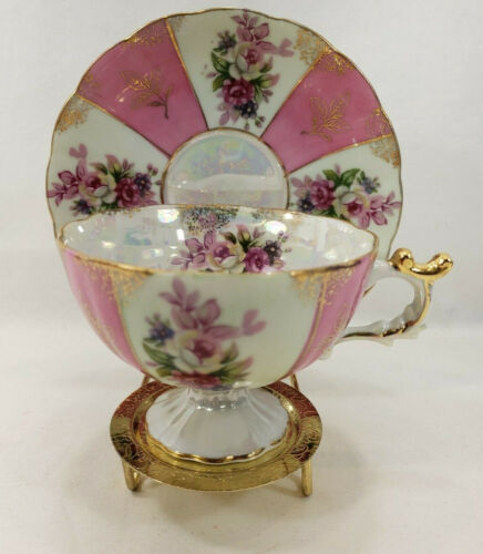 Made In Japan Tea Cup and Saucer Iridescent Gold Rim Pink Roses