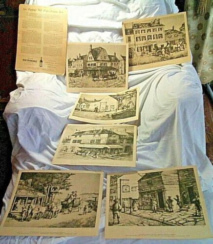 """Vintage""""OLD OVERHOLT"""" Pennsylvania RYE WHISKEY ADVERTISING Distillery>6 ETCHINGS"""