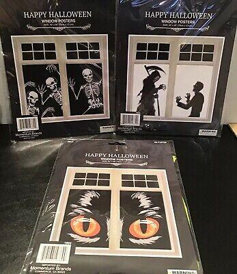 Halloween Cat Eyes For Window (Happy Halloween Cat Eyes, Reaper, or Skeletons Window Poster Cover)