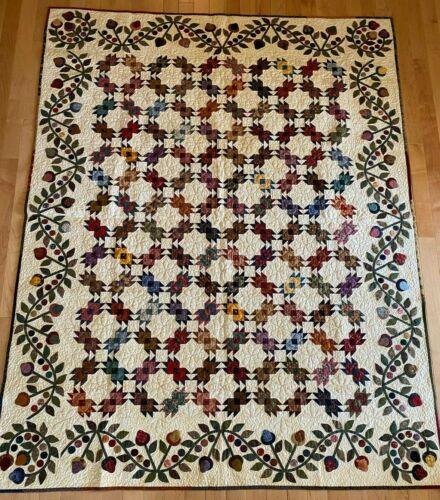 "Handmade Quilt Kim Diehl Pattern Hand Appliqued border 67"" x 87""  Unused"