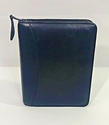 Franklin Covey Compact Binder Planner Black Faux Leather Zip 6 Rings 1
