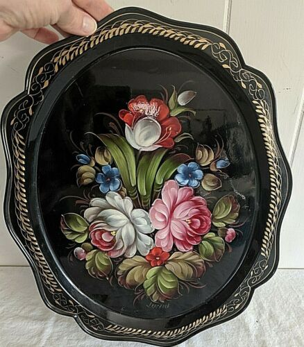 Gorgeous Vtg Hand Painted Black w/ Flowers Gilt Decoration Tole Tray