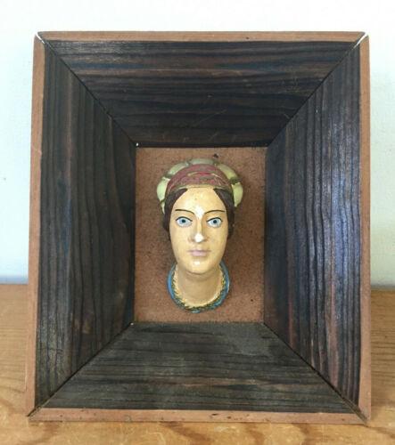 Vtg Wawel Castle Carved Plaster Female Head Wood Frame Souvenir Krakow Poland