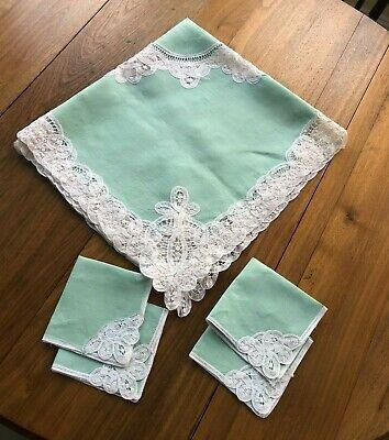 Vintage Aqua Linen Battenberg Lace Trim Tablecloth & Napkins