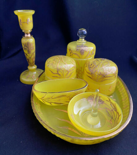 7PC YELLOW OPALINE GILT GLASS FRENCH VANITY DRESSER SET TRAY CANDLE RING POWDER