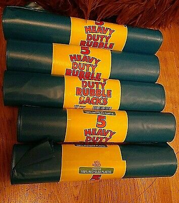 5 x 5 Royal Markets Heavy Duty Blue Builders Rubble Sacks Thick Strong 20