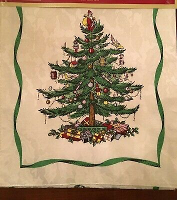 Spode Damask Christmas Tree Holly Table Runner Ivory  NEW Soft 14 x 90