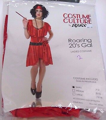 Women's Size 4-6 Red FLAPPER Roaring 20's Cosplay Halloween Costume Party Dance ()