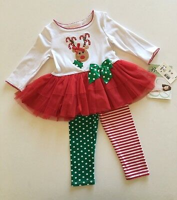 Bonnie Baby Girl's Holiday Christmas 2 pc Outfit Reindeer Size 18 Months - Bonnie Baby Christmas Outfits