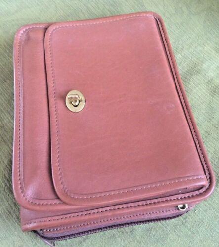 JACK GEORGES Planner Folio Case IPad Mini British Tan Leather Zip Pockets