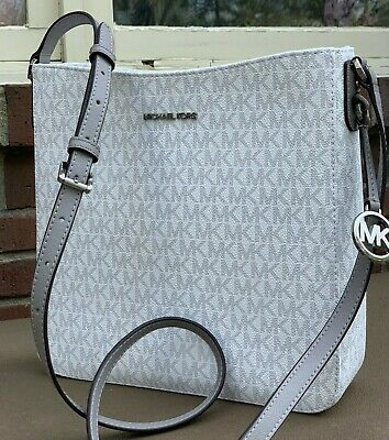 Michael Kors Jet Set MK Signature Large Messenger Bright White Grey Bag Purse