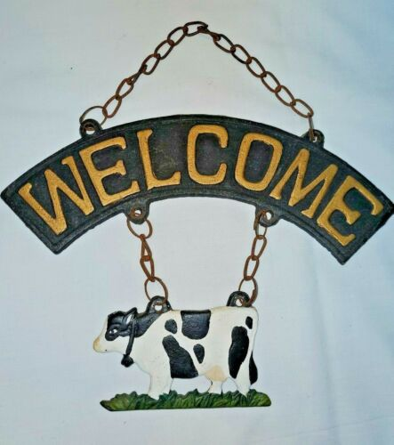 Rustic Metal WELCOME SIGN Black & White COW Hanging Farm House Chic Decor
