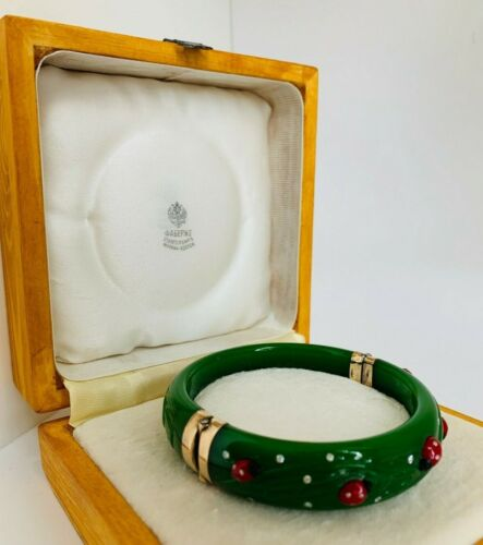 Antique Russian Faberge 14K gold AA Jade Diamonds Bracelet with Ladybugs