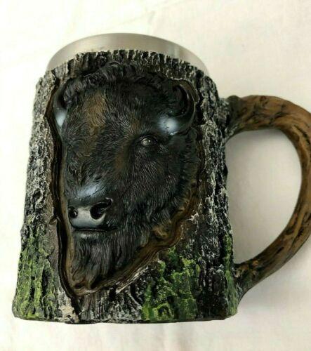 Western Bison Drinking Mug Raised Detailed 15 oz Buffalo Mountain Man