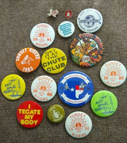 Vintage Houston Livestock Show And Rodeo Pins Buttons 1980s Texas Lot #3