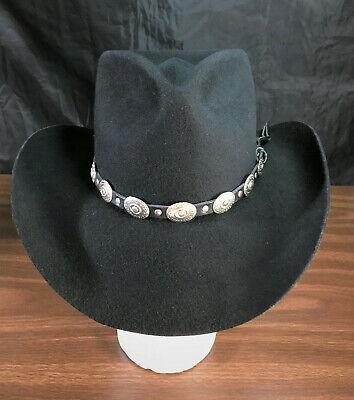 Western Australia Black Outback Longhorn Cowboy Cowgirl Hat Wool Adult Small S -
