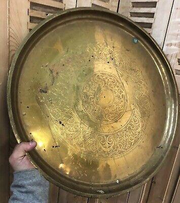 Plate Moroccan Antique Copper Morocco Algeria Object Ethnic Arabic