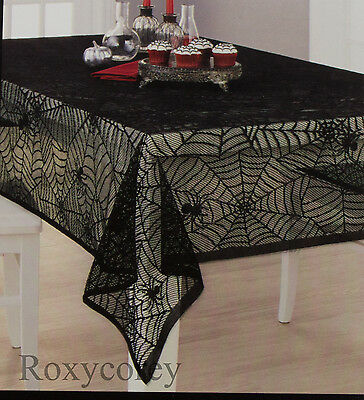 Halloween Black Spider Web Lace Oblong Tablecloth Wall Window Decor 60x84 NWT