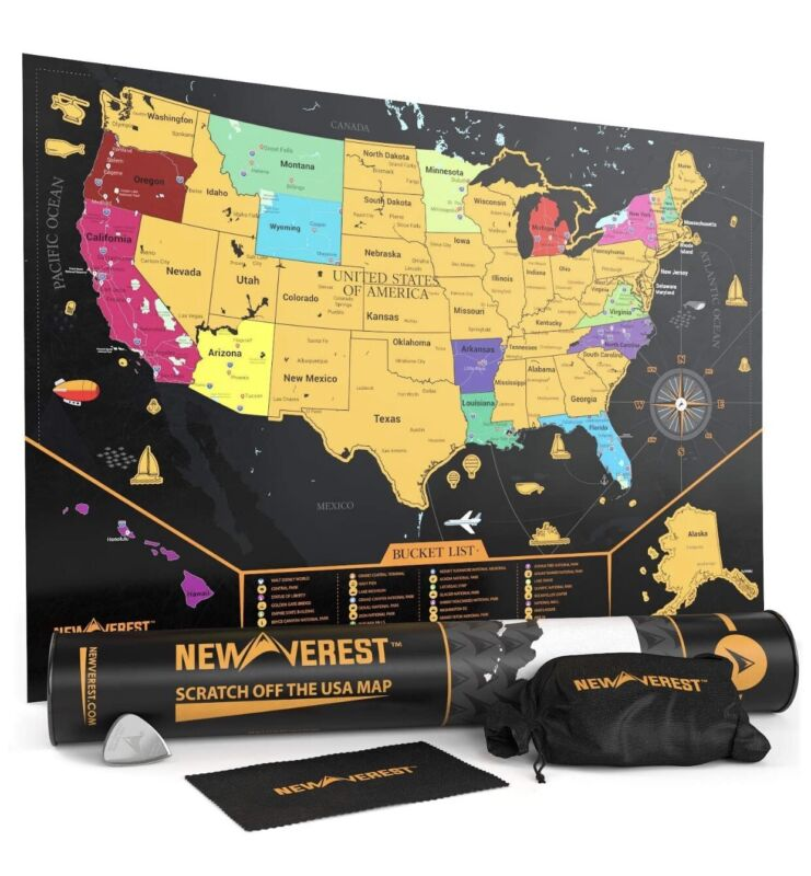 Scratch Off United States Map - Detailed USA Map, Travel Art Poster, Fits X 20 4