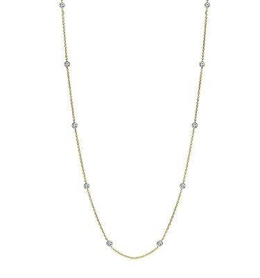 Bezet Bezel Set CZ by the Yard Cable Chain Necklace 14K Yellow Gold Clad Silver 14k Yellow Bezel Set
