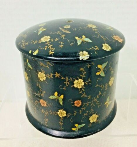 Victorian Paper Maché String Spool Holder Yarn Box Butterfly & Floral