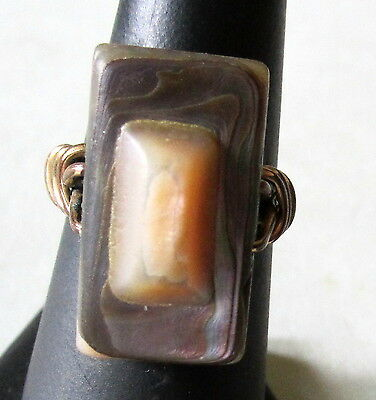 """FABULOUS VINTAGE BLISTER PEARL RING GOLD TWIST WIRE BAND BIG 7/8"""" FRONT SIZE 7"""