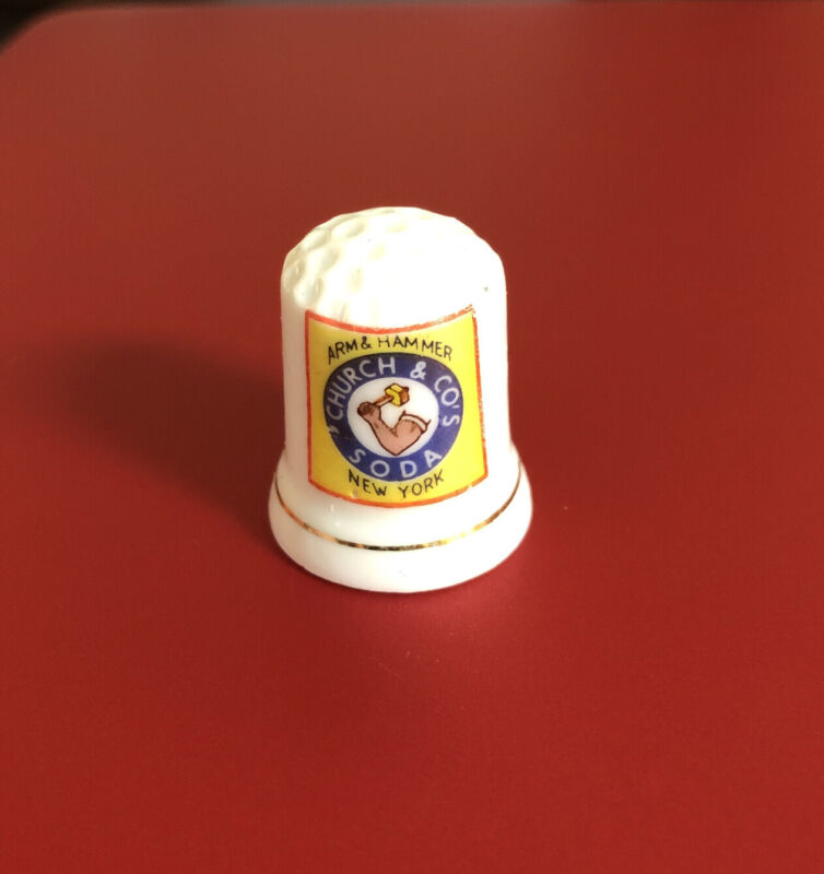 Arm & Hammer Church & CO's Soda Advertisement With Gold Trim At Base Of Thimble