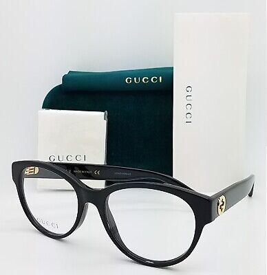 NEW Gucci RX Frame Glasses Black Gold GG0039O 001 52mm AUTHENTIC Round (Gucci Round Frame Glasses)