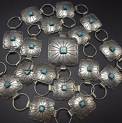 """Vintage NAVAJO Hand Stamped Sterling Silver & TURQUOISE Square Concho BELT 36"""""""
