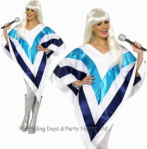 8-16 Super Trouper Poncho 70s 80s Costume Disco Abba Ladies Fancy Dress Outfit