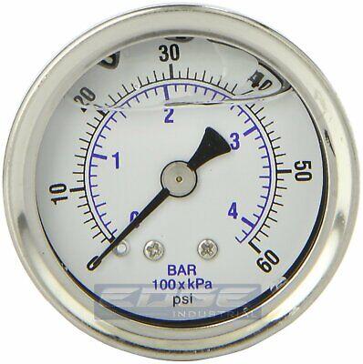 Liquid Filled Pressure Gauge 0-60 Psi 1.5 Face 18 Npt Back Mount
