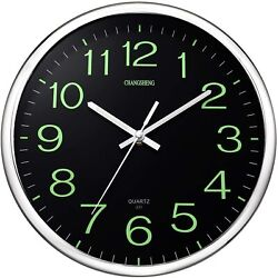 12'' Glow In The Dark Luminous Quartz Wall Clock Silent Glowing Hands & Numbers