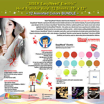 Siser Easyweed Electric Heat Transfer Vinyl12 Sheets15x1212 Assorted Colors