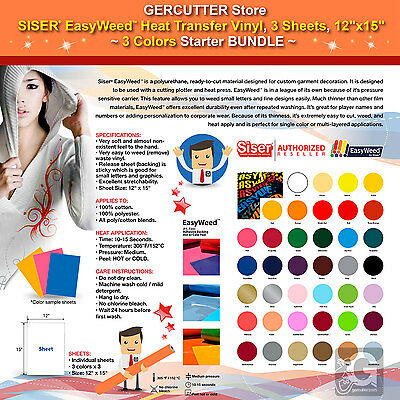 Siser Easyweed Heat Transfer Vinyl 3 Sheets 12x15 3 Colors Starter Bundle