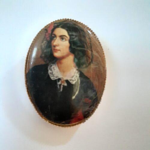 Portrait Brooch Pin Victorian Era Metal