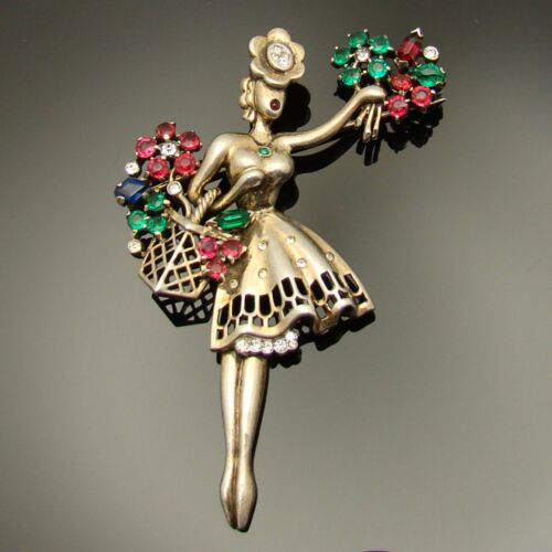 Signed Trifari Flower Seller Girl Brooch Sterling Silver VTG 1947 Figural HTF