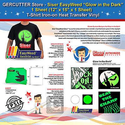 Siser Easyweed Glow In The Dark1 Sheet 12x15 T-shirt Iron-on Transfer Vinyl