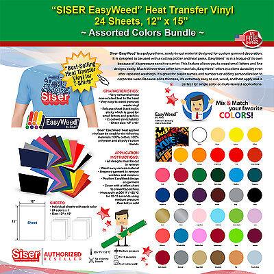 Siser Easyweed Htv 24 Sheets 12x15 Random Assorted Color Bundle