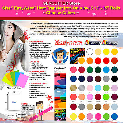 Siser Easyweed Heat Transfer Iron On Vinyl 5 12 X 15 Rolls Choose Colors