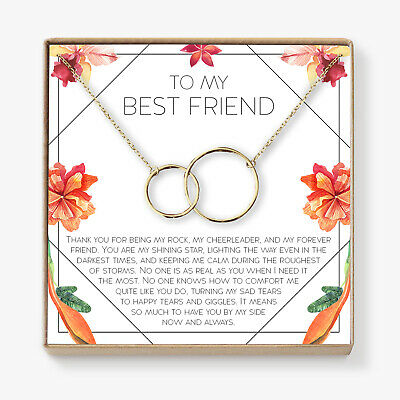 Best Friend Necklace - Heartfelt Card & Jewelry Gift for Birthday, Holiday &