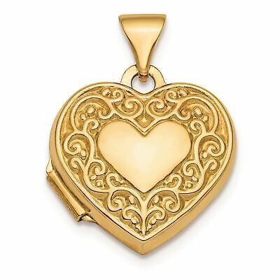 14K Yellow Gold Fancy Scroll Design Front and Back Heart Locket Charm (Backed Fancy Heart Pendant)