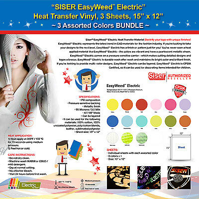 Siser Easyweed Electric Heat Transfer Vinyl 3 Sheets15x12 3 Assorted Colors