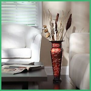 Embossed Square Vase Tall Metal Red Gold Decor Centerpiece Flower Arrangement FS