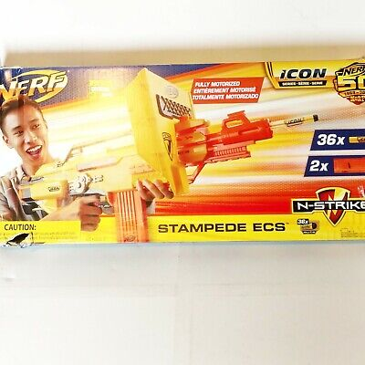 Nerf N-Strike Icon Fully Motorized Stampede ECS 50th 36 Darts 2 clips Limited