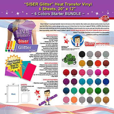 Siser Glitter Heat Transfer Vinyl 6 Sheets 20 X 12 6 Colors Starter Bundle