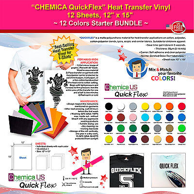 Chemica Quickflex Heat Transfer Vinyl12 Sheets12x1512 Colors Starter Bundle
