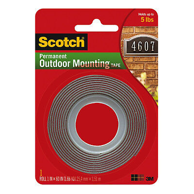 3m Scotch 4011 Permanent Outdoor Mounting Tape 1 In. X 60 In. Grey