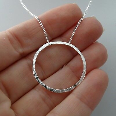 - Textured Circle Necklace - 925 Sterling Silver Round Karma What Goes Around Gift
