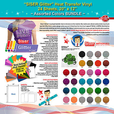 Siser Glitter Heat Transfer Vinyl 24 Sheets 20x12 Assorted Colors Bundle